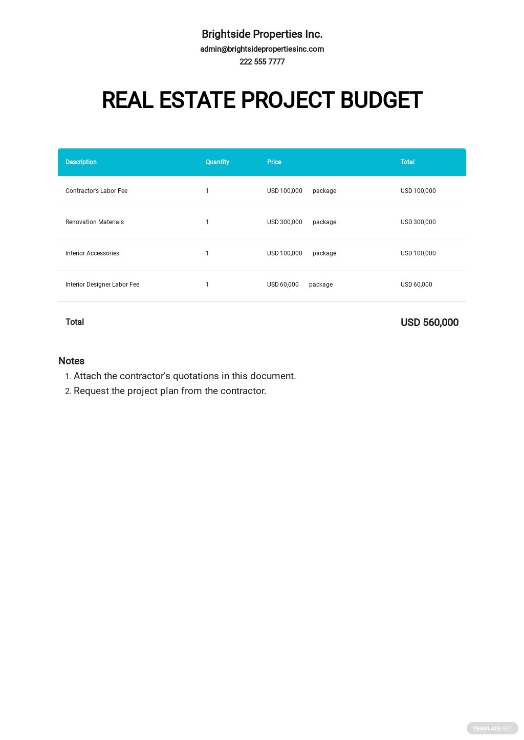 Real Estate Project Budget Template