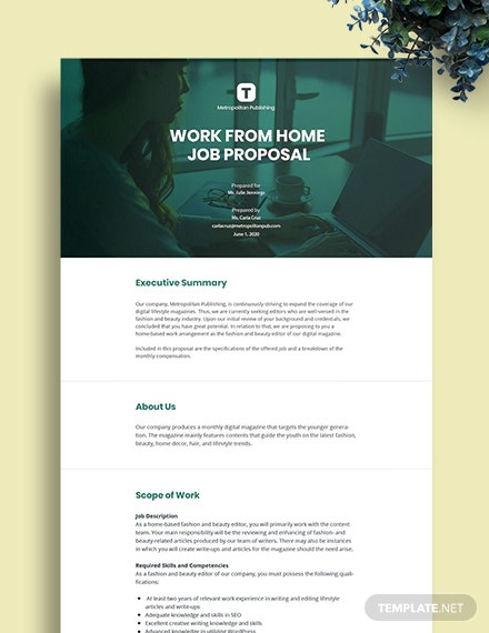 Free Sample Work From Home Proposal Template
