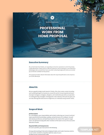 Free Professional Work From Home Proposal Template