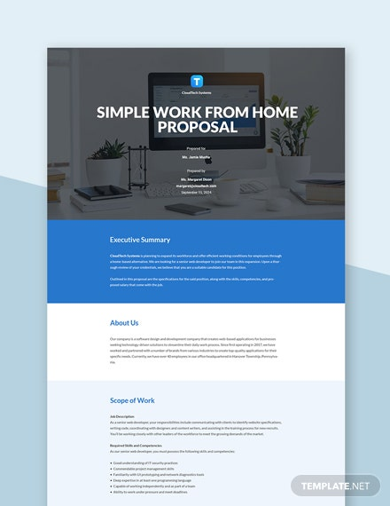 Free Simple Work From Home Proposal Template