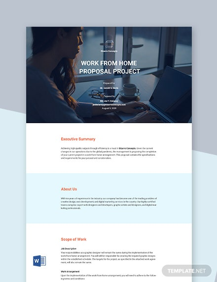 Free Work From Home Proposal Project Template