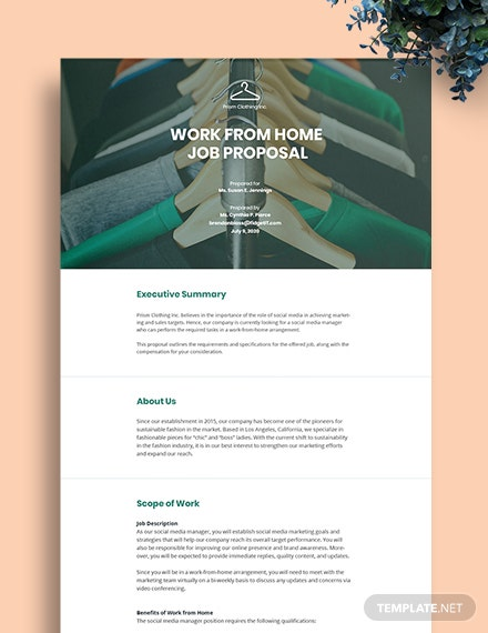 Work From Home Job Proposal Template