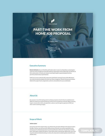Work From Home Part Time Proposal Template