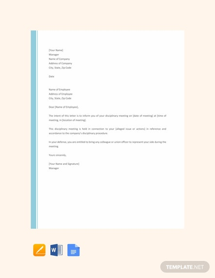 Free Disciplinary Letter Template