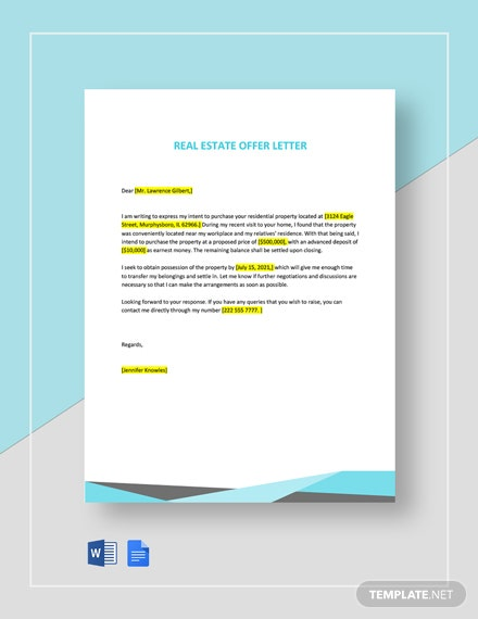 Free Simple Real Estate Offer Letter Template