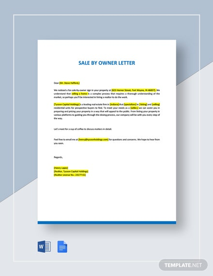 For Sale By Owner Letter Template