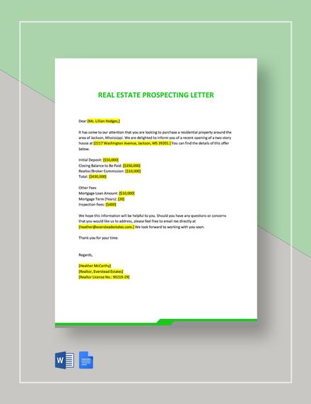 Real Estate Prospecting Letter Template