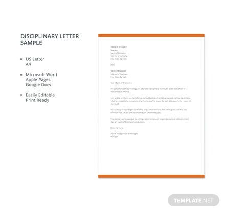 Free Disciplinary Letter Sample