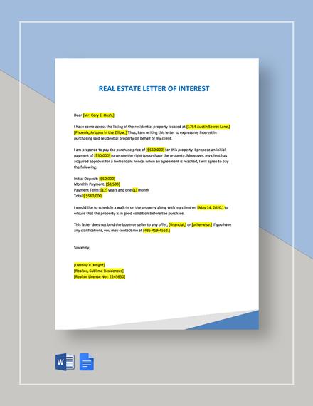 Real Estate Letter Of Interest Template