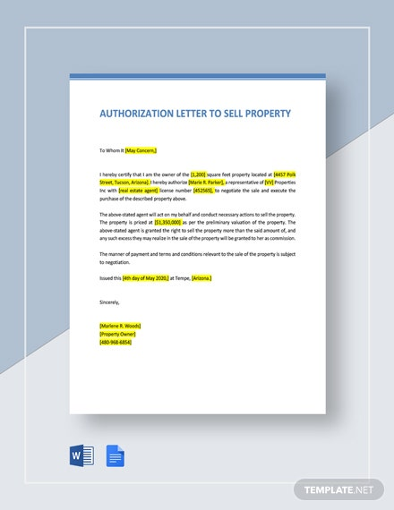 Authorization Letter Template To Sell Property