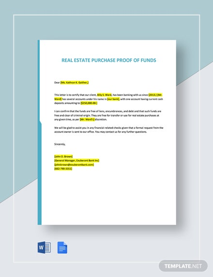 Proof Of Funds Letter Template For A Real Estate Purchase