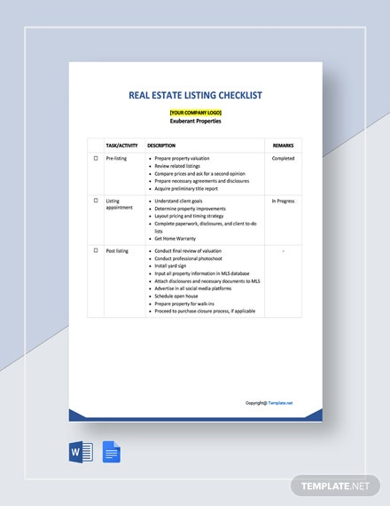 Free Real Estate Listing Checklist Template