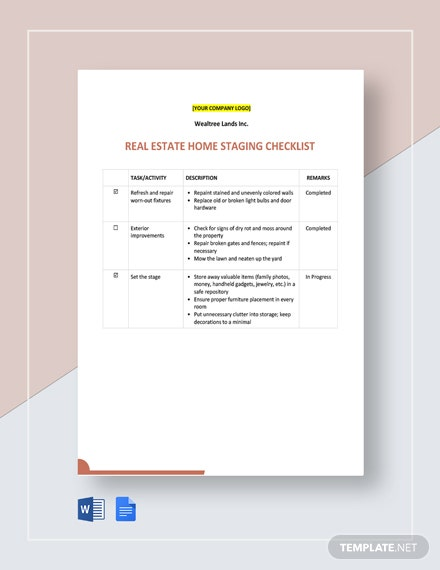 Real Estate Home Staging Checklist Template
