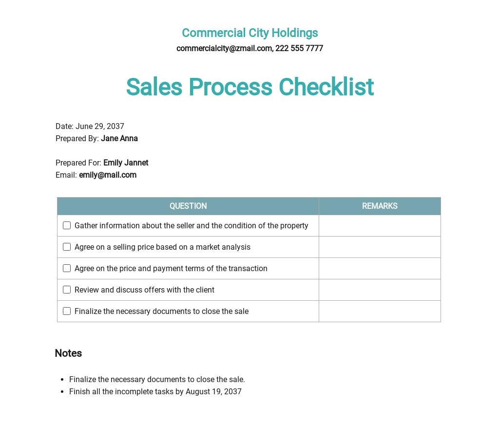 Real Estate Sales Process Checklist Template