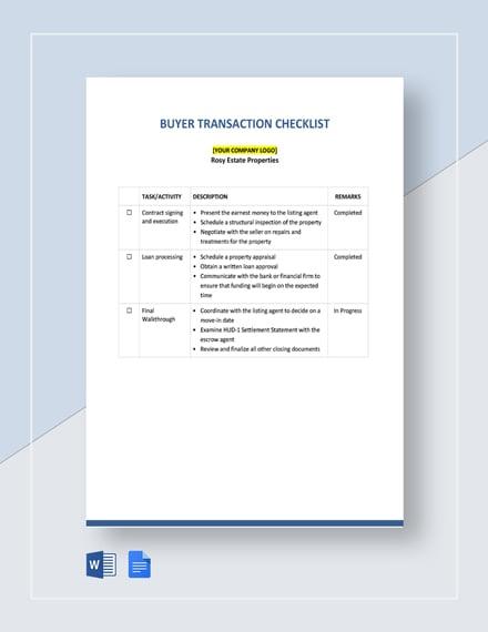 Buyer Transaction Checklist Template