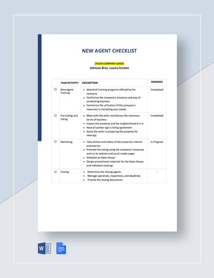 New Agent Checklist Template