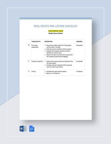 Real Estate Pre-Listing Checklist Template