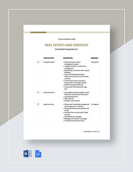 Real Estate Lead Checklist Template