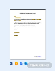 Free Resignation Letter Template Due to Travel