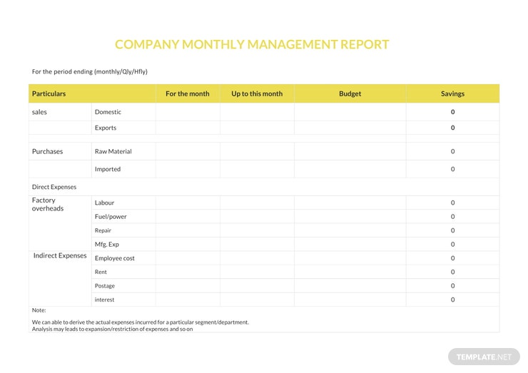 Free Company Monthly Report Template