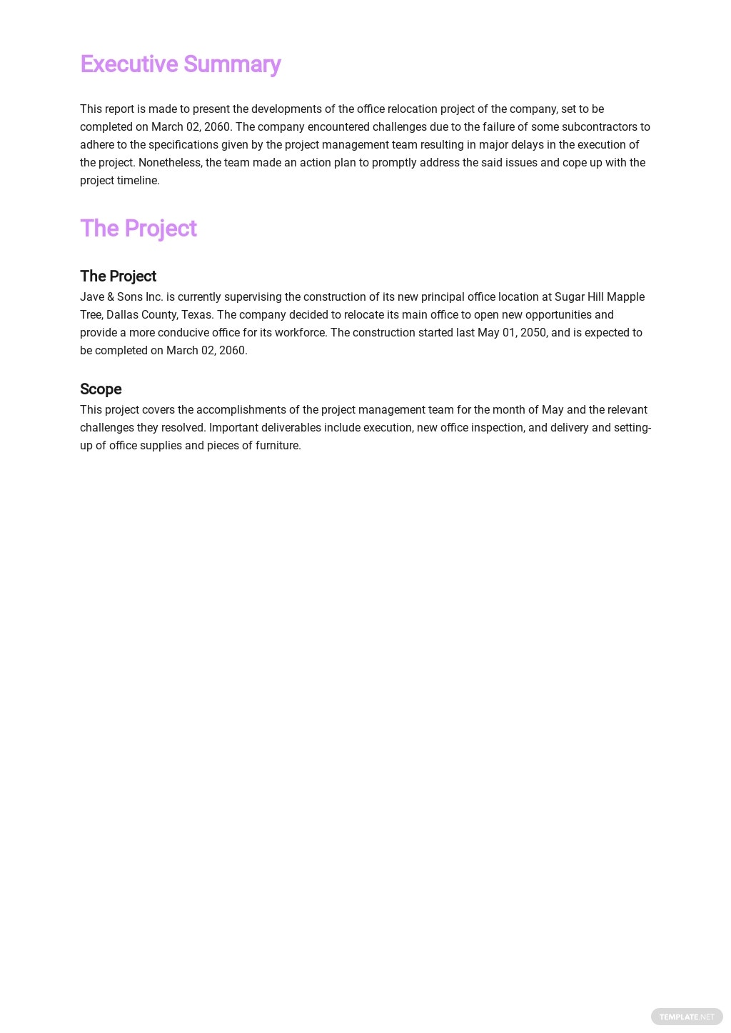 Free Company Monthly Report Template 1.jpe