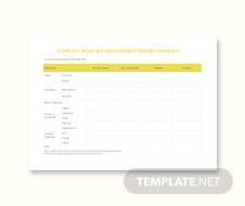 Company Monthly Report Template