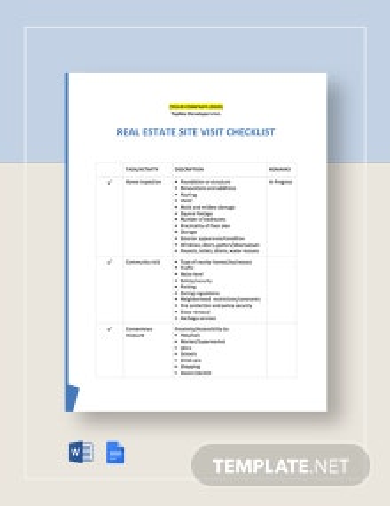 Real Estate Site Visit Checklist Template