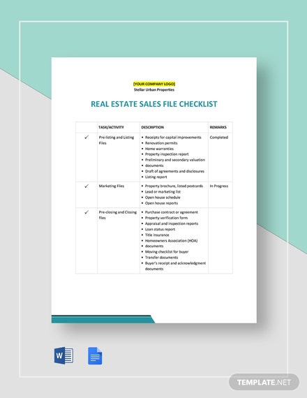 Real Estate Sales File Checklist Template