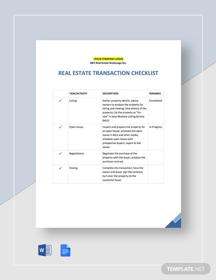 Real Estate Transaction Checklist