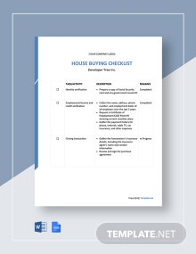 House Buying Checklist Template