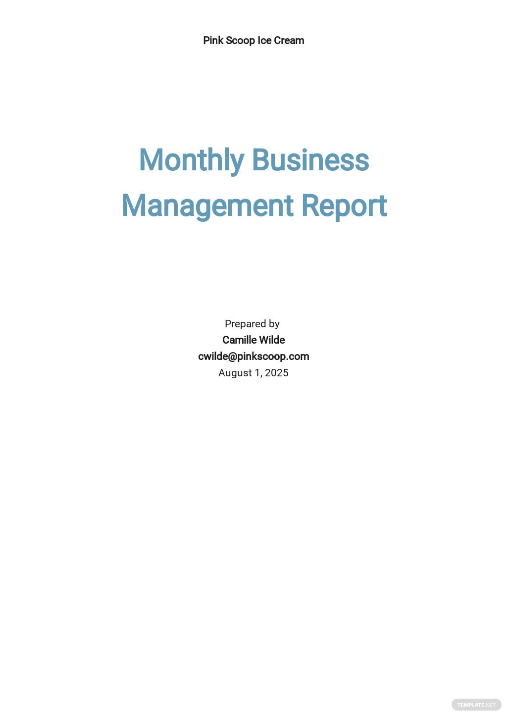 Monthly Business Management Report Template
