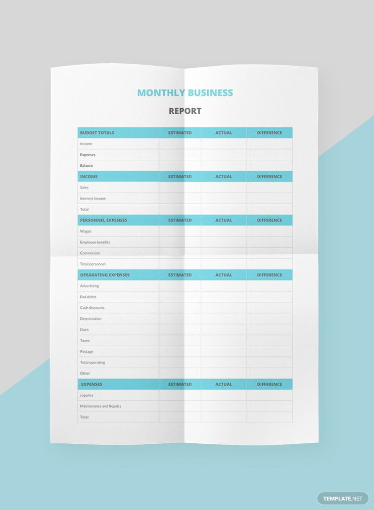 Free Monthly Business Management Report Template