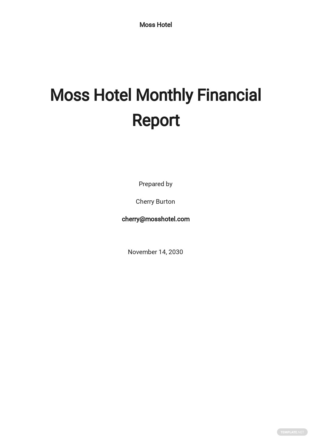 Simple Monthly Financial Report Template