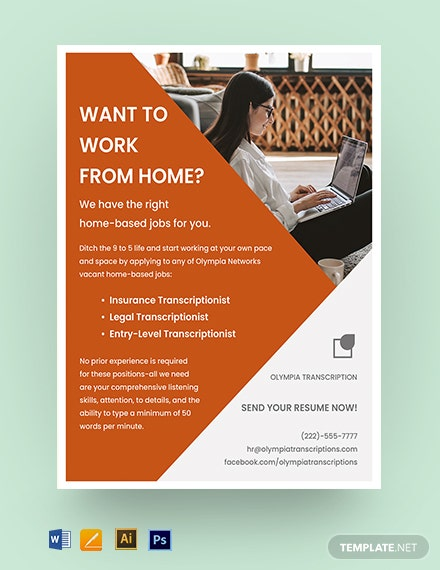 Work Form Home Job Flyer Template