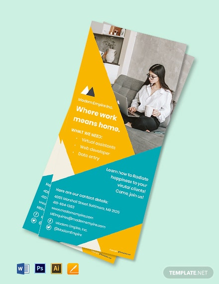Free Modern Work From Home Rack Card Template