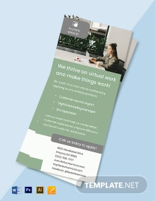 Work From Home Hiring Rack Card Template