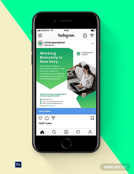 Free Work From Home Instagram Ads Template