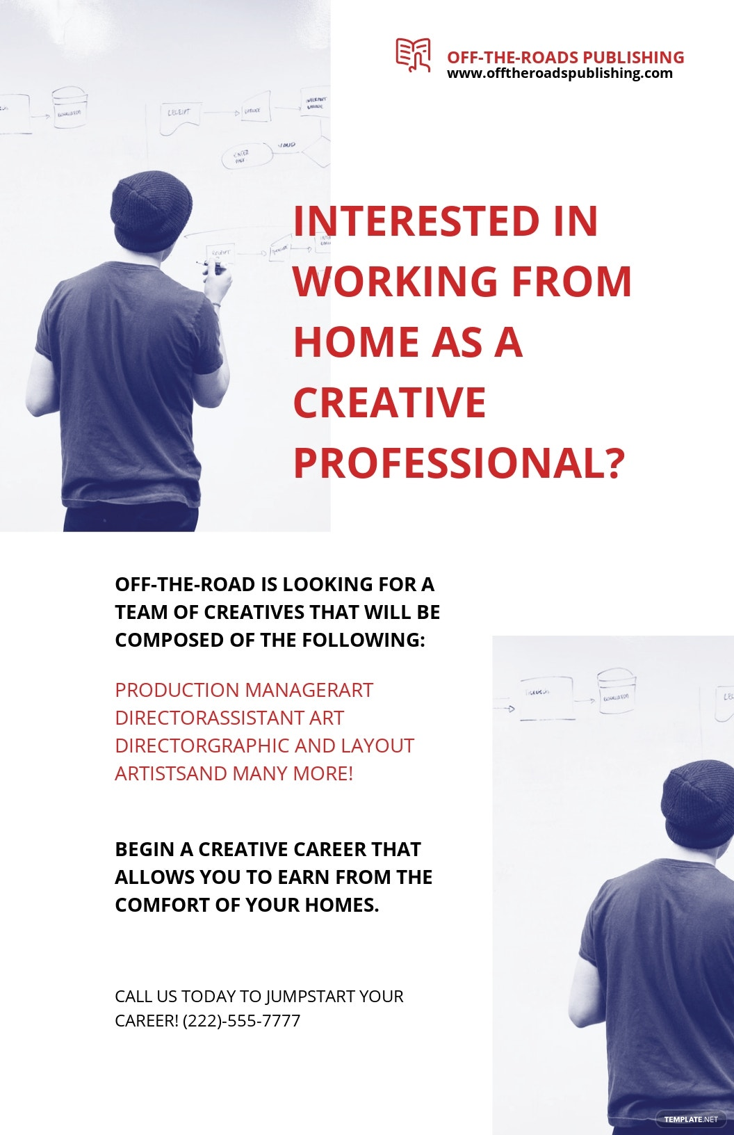Modern Work From Home Poster Template