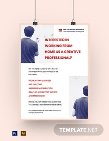 Free Modern Work From Home Poster Template