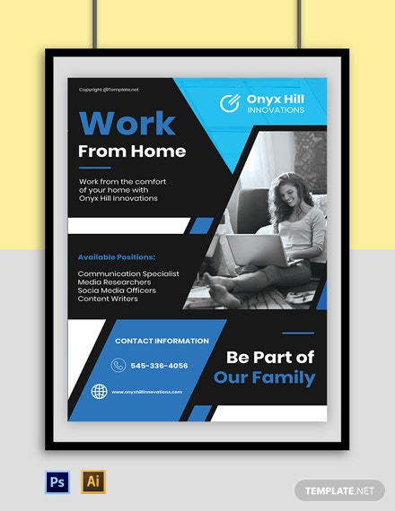Free Elegant Work From Home Poster Template