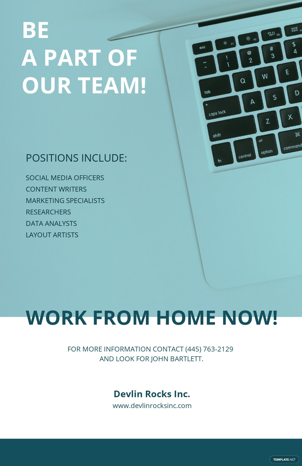 Work From Home Now Poster Template