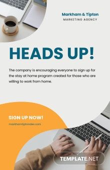 Stay Home Work From Home Poster Template