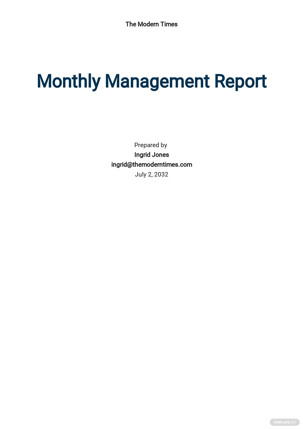 Simple Monthly Management Report Template