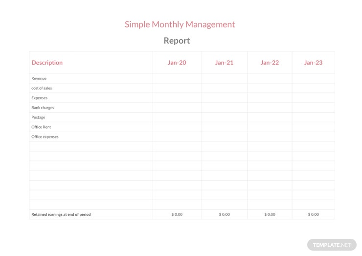 Free Simple Monthly Management Report Template