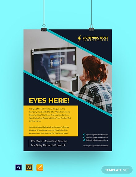 Work From Home Office Poster Template