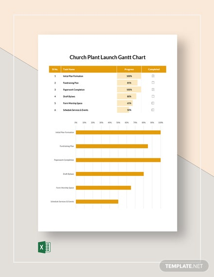 Church Plant Launch Gantt Chart Template