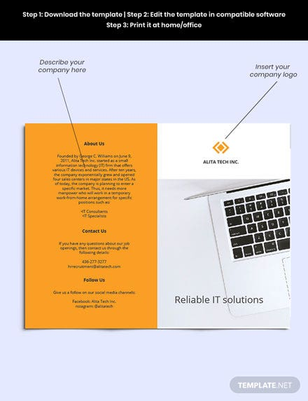 Free Bifold Sample Work From Home Brochure guide