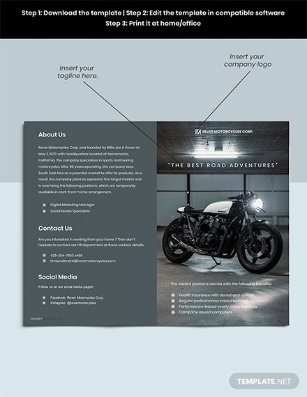 Free Modern Bifold Work From Home Brochure Template format