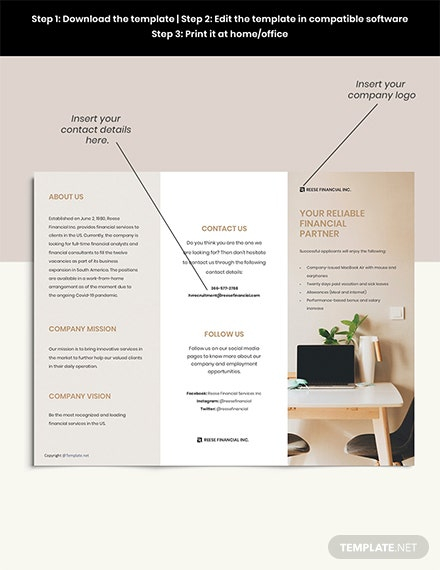 Free Modern Trifold Work From Home Brochure Template format