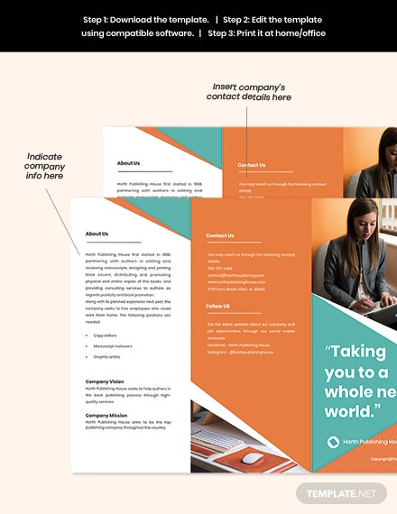 Free Creative Trifold Work Form Home Brochure Template example